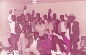 11 mai 1984 Nice. L'amabasseur du Burkina et son premier conseiller Pitroipa Amadado reoivent les voltaques de la Cte d'Azur