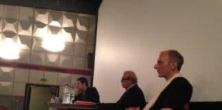 Christophe Cupelin (1er plan), Jean Ziegler et Pascal Knoerr en avant première de