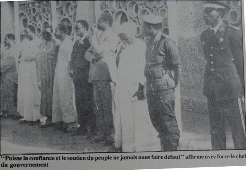 Les officiels lors de l'intronisation de Thomas Sankara comme premier ministre